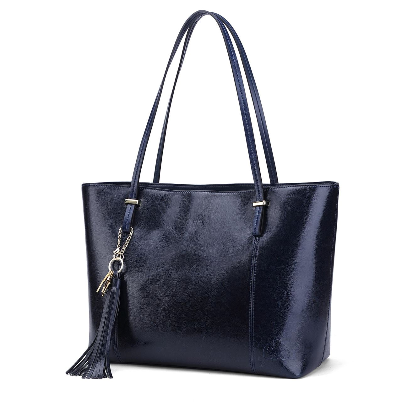 Navy Blue Leather Large Tote Bag